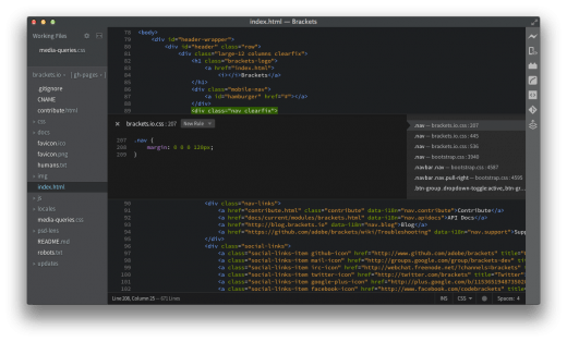 Brackets quick edit 520x314 Adobe launches Brackets v1.0, an open source text editor for Web designers