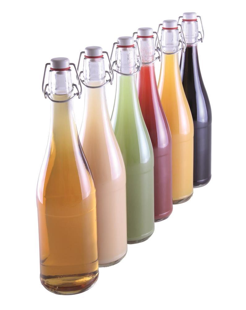 bouteille de limonade transparente 75 cl avec bouchon mecanique par 6