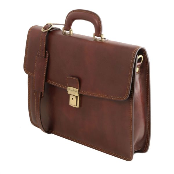 Amalfi Leather Briefcase 1 Compartment Red TL141351