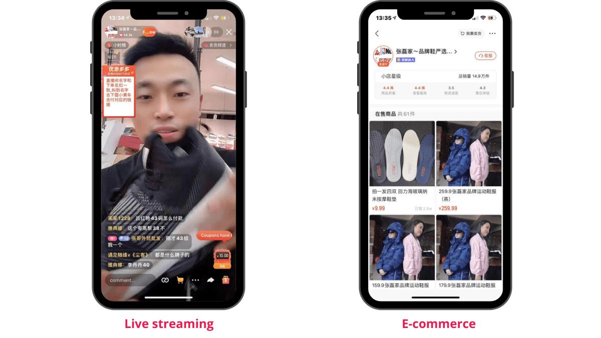Due smartphone che mostrano un livestreaming e un ecommerce su kwai