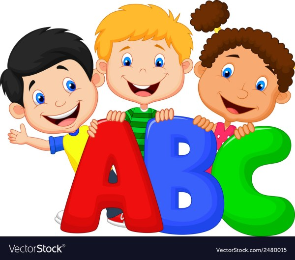 School Kids Cartoon With Abc Royalty Free Vector