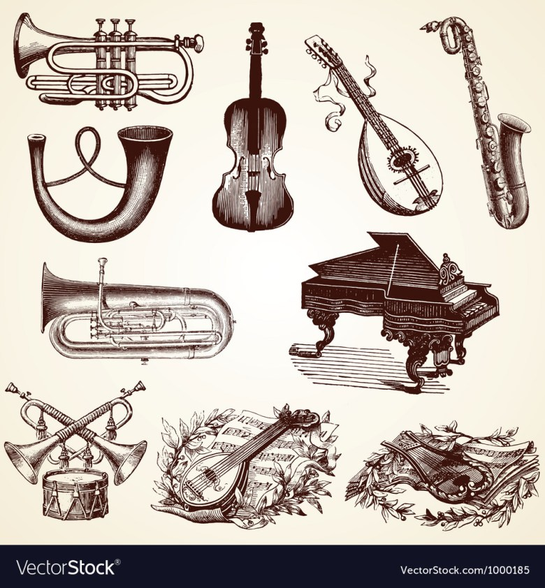 vintage pack of musical instruments royalty free vector