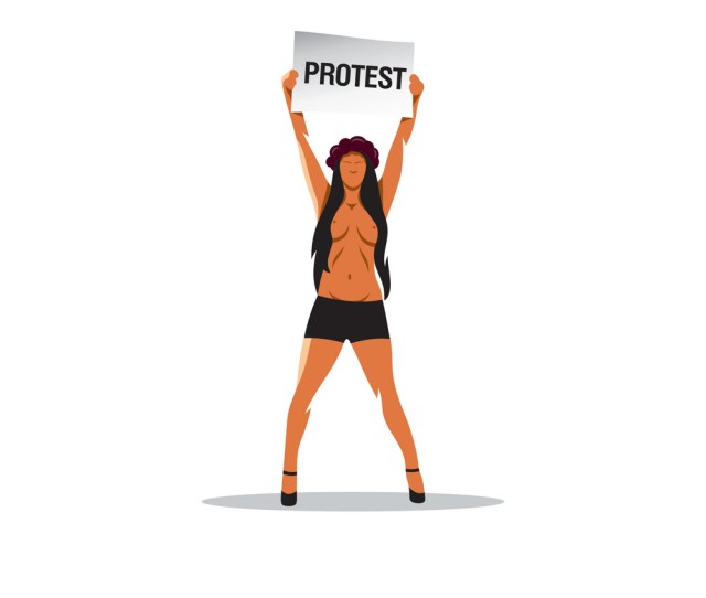 Naked Girl With A Placard Protesting Vector Image