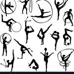 Black Gymnastics Female Silhouettes Royalty Free Vector