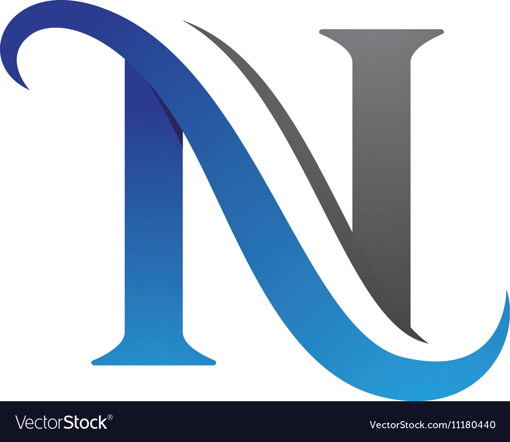 hight resolution of n letter logo template vector image