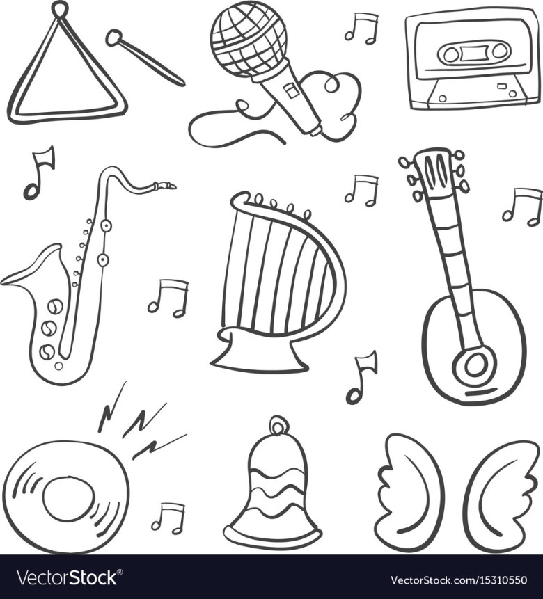 hand draw musical instrument doodles royalty free vector