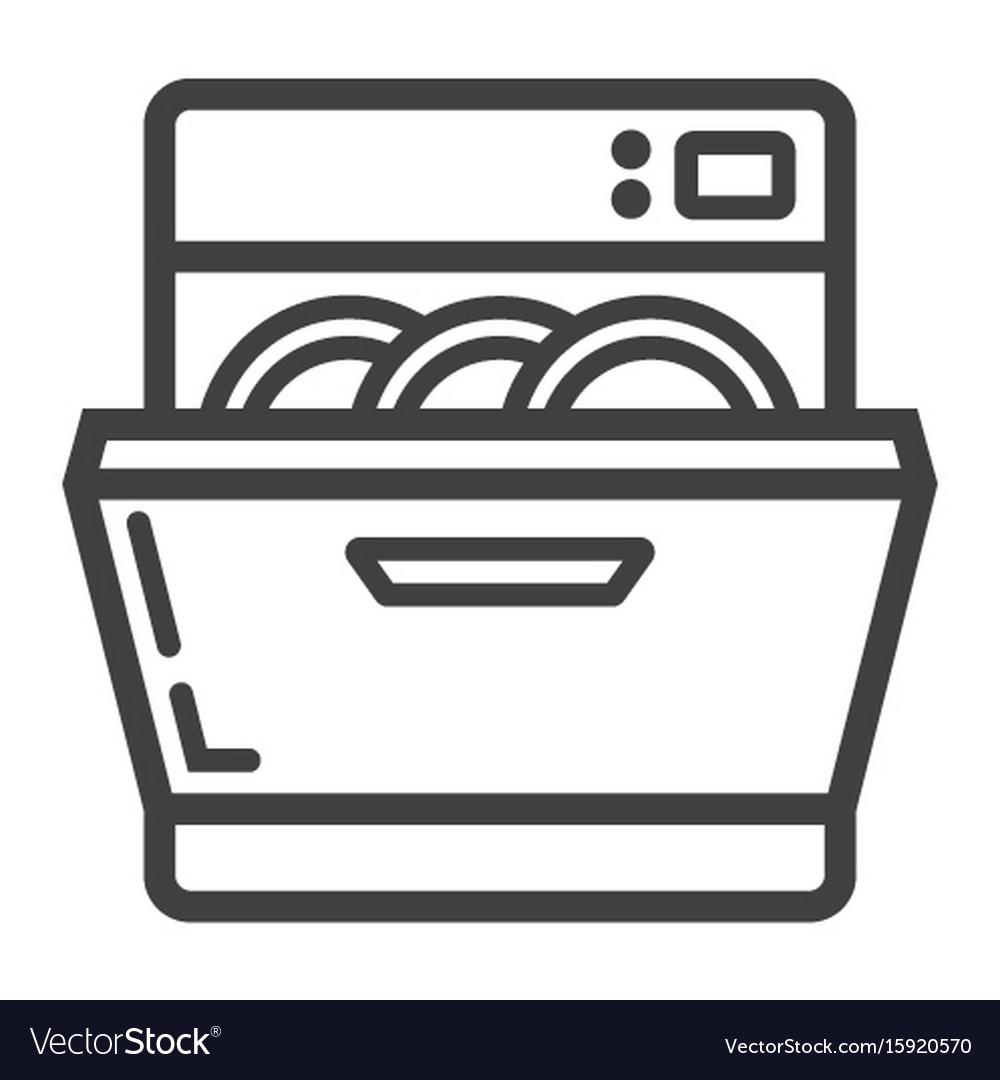 dishwasher line icon kitchen