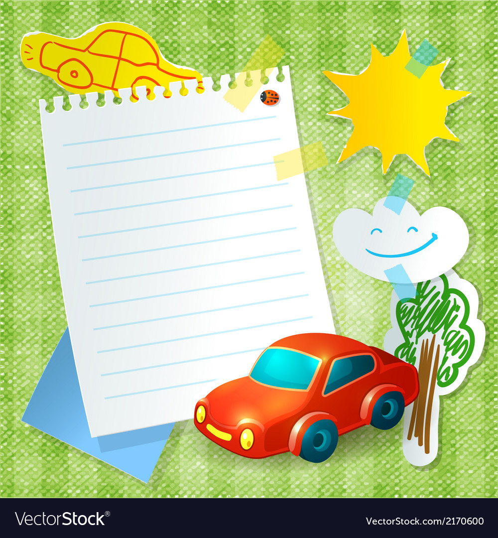 Toy Car Paper Postcard Template Vector Image