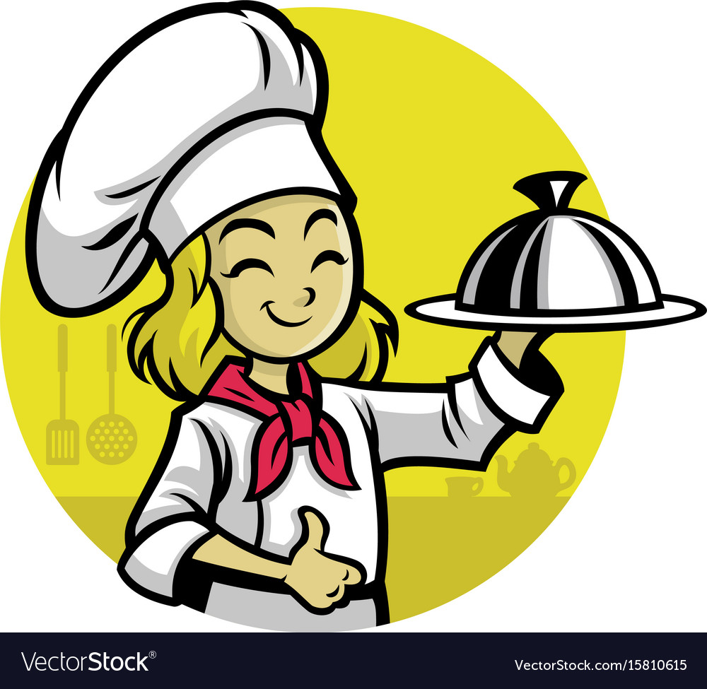 girl chef presenting the