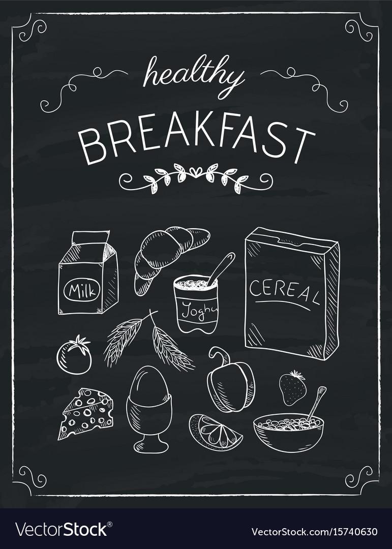 Breakfast Doodles : breakfast, doodles, Breakfast, Doodles, Black, Board, Royalty, Vector, Image