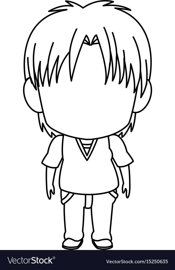 Boy Anime Hair : anime, Outlined, Little, Anime, Style, Stand, Vector, Image