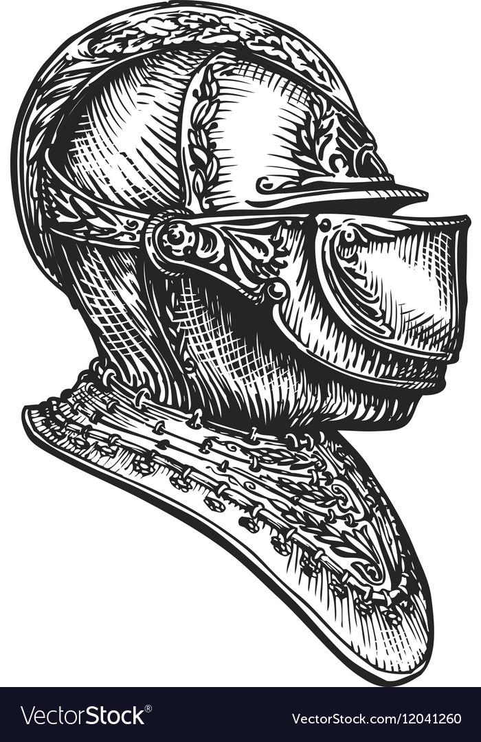 Medieval Helmet Drawing : medieval, helmet, drawing, Helmet:, Crusader, Knight, Helmet, Drawing