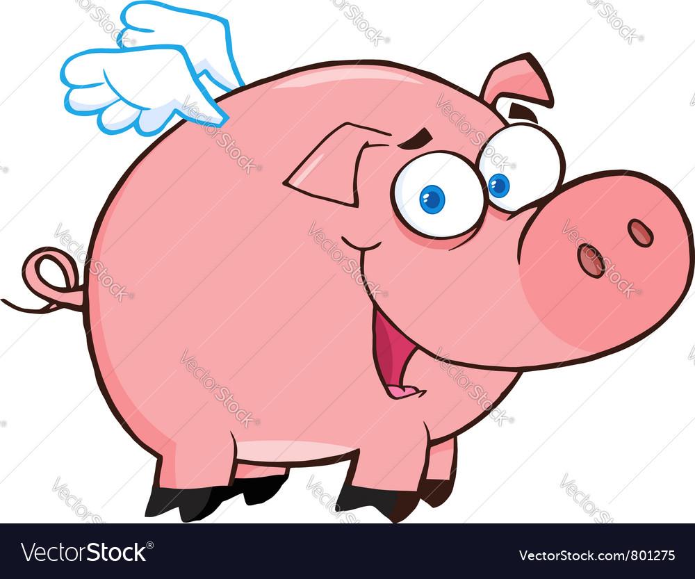 happy pig flying cartoon