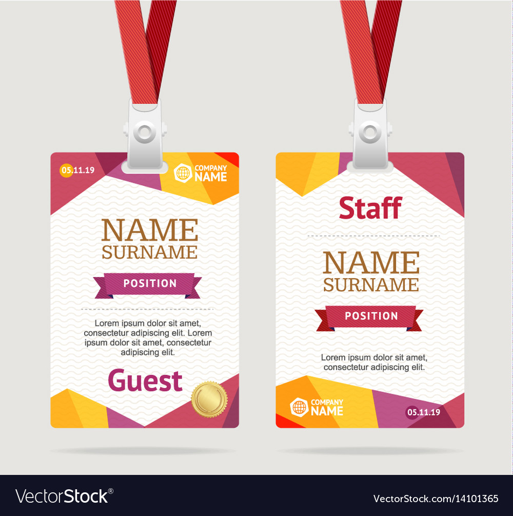 hight resolution of id card template plastic badge vector image