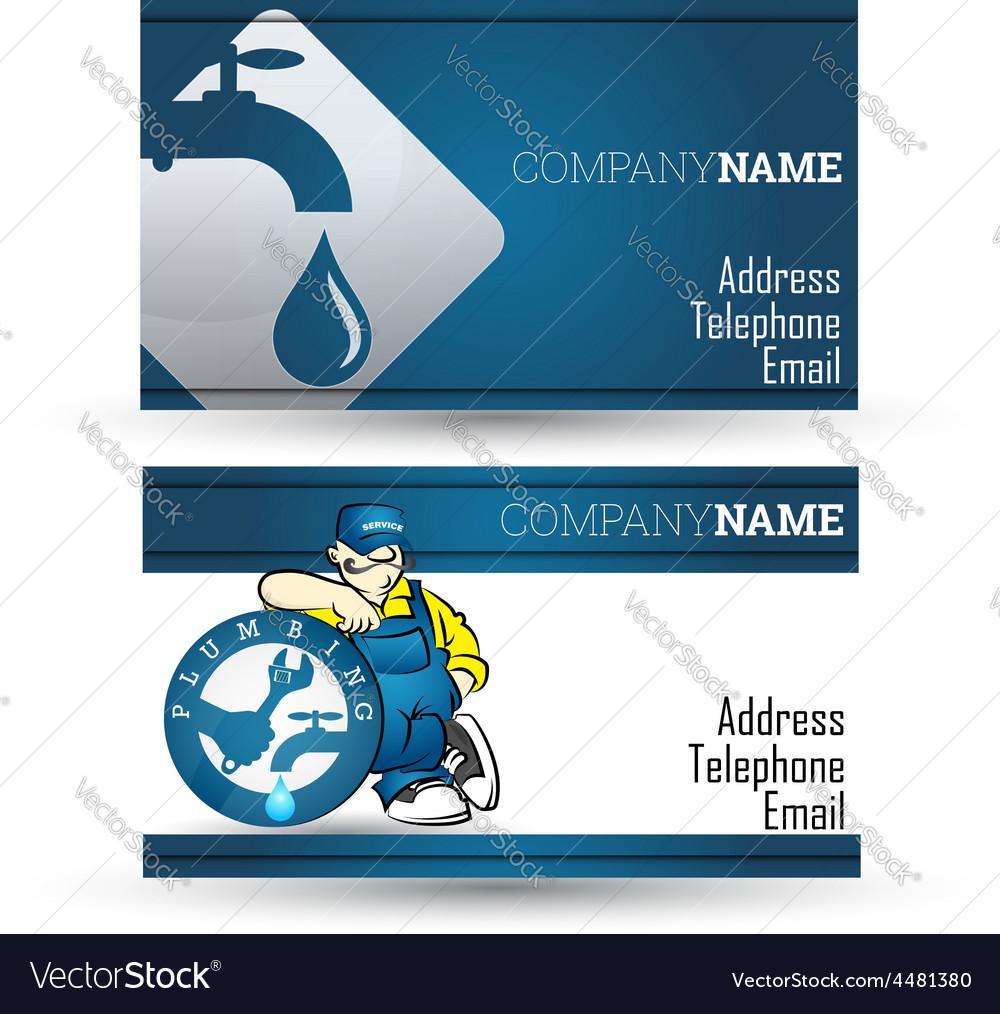 Business Card For Plumbing Repair Business Vector Image