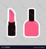 pink lipstick nail polish sticker