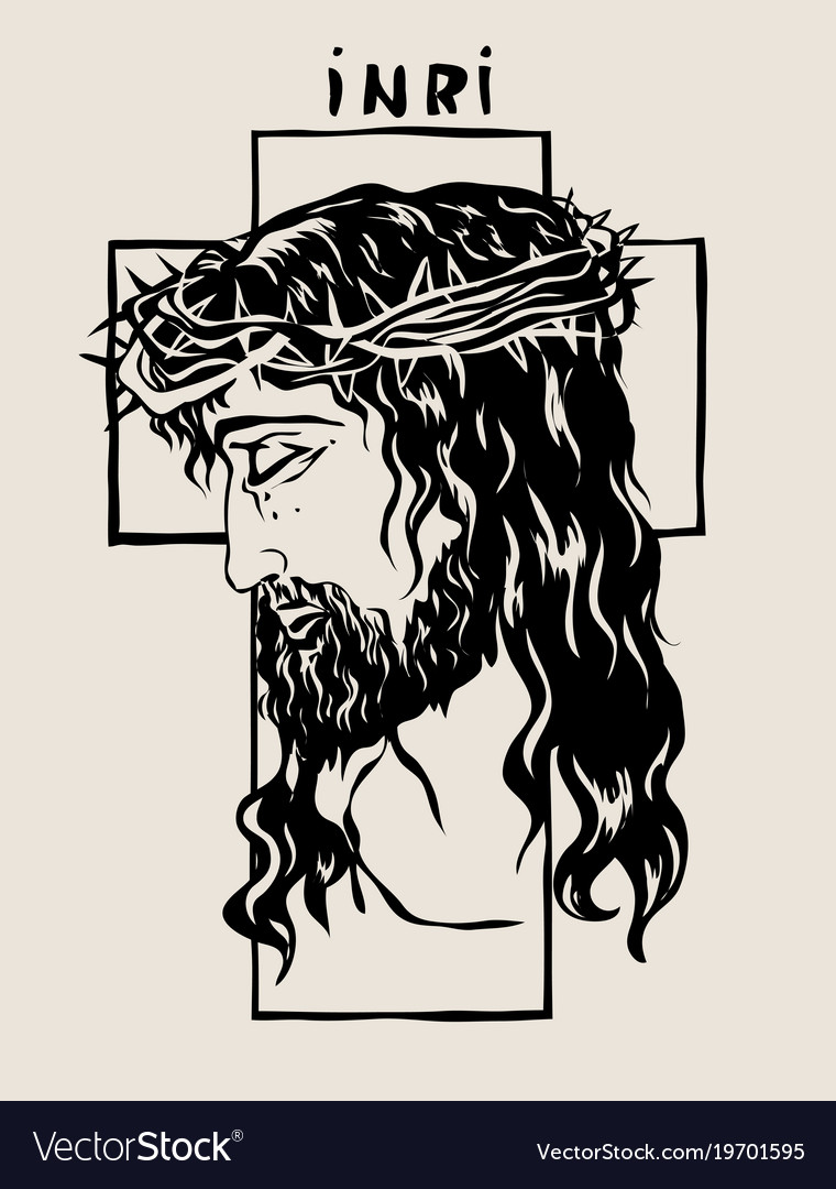 Jesus Face Outline : jesus, outline, Jesus, Sketch, Drawing, Royalty, Vector, Image