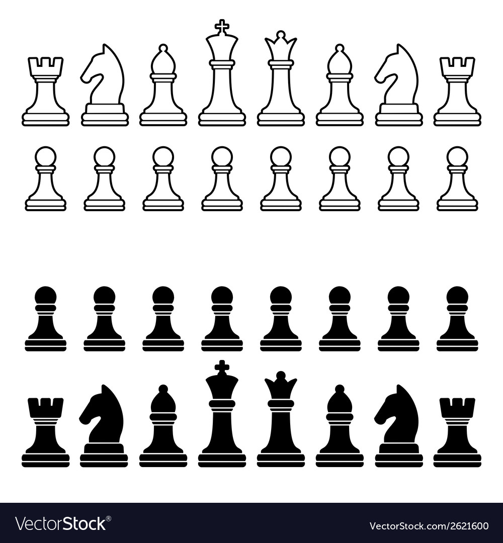 chess pieces silhouette black
