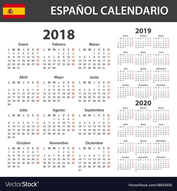 Spanish calendar for 2018 2019 and 2020 scheduler Vector Image