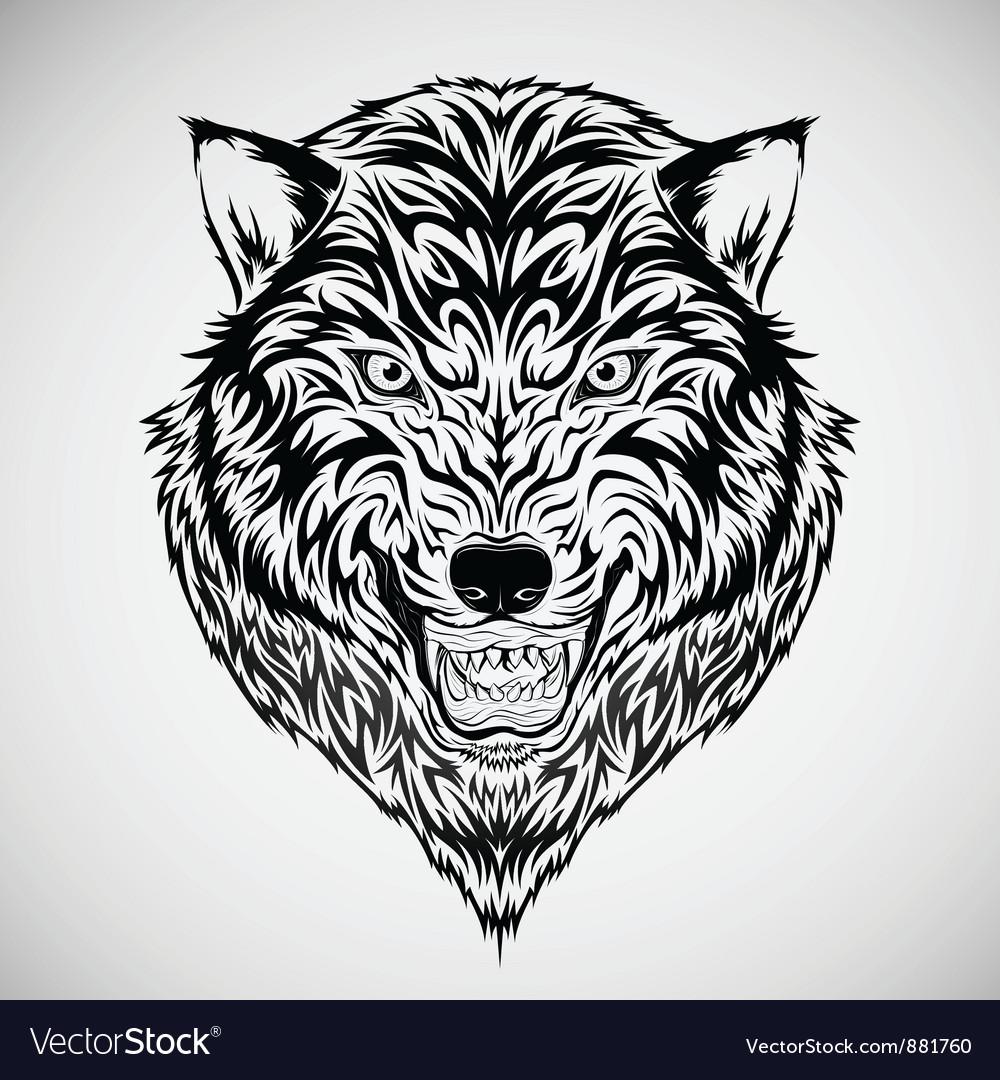 Tribal Wolf Head Tattoo Designs