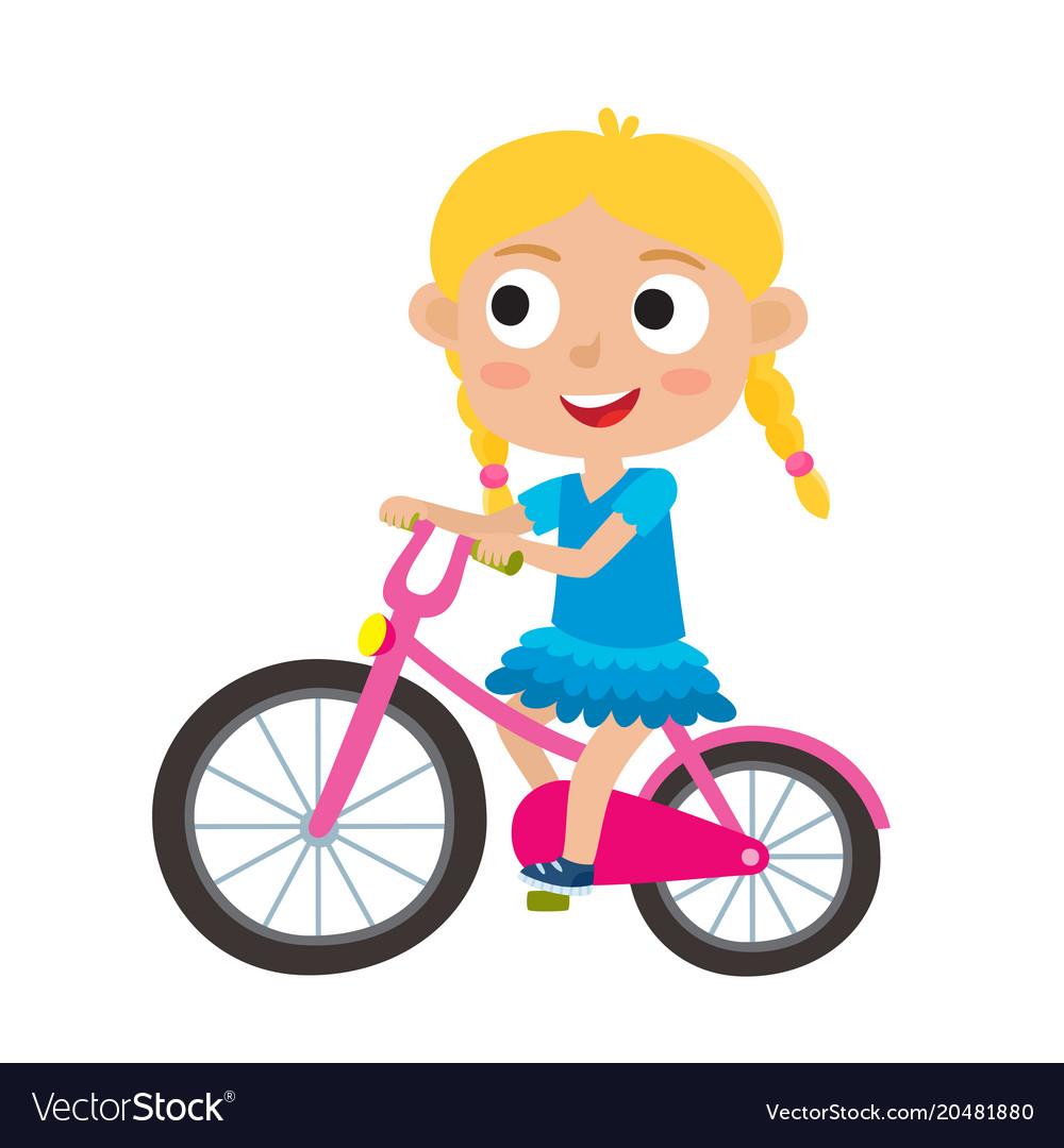 cartoon blonde girl riding