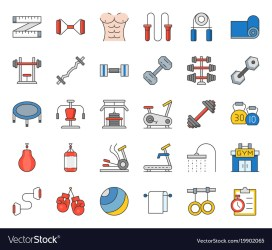 Gym equipment and fitness icon Royalty Free Vector Image