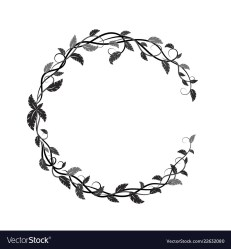 Round frame with black and gray lianas and leaves Vector Image