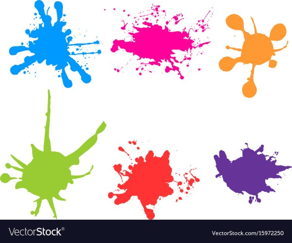 Color Paint Splatter Splashes Set Royalty Free Vector