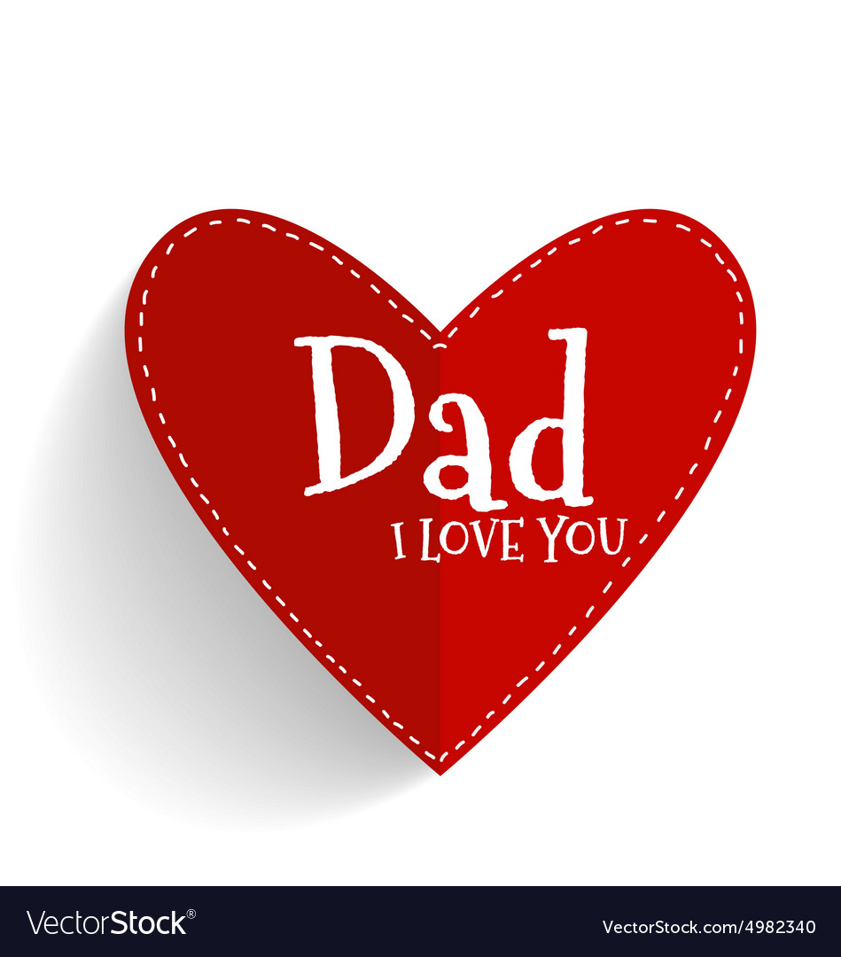 Download Happy fathers day card design with Red heart Vector Image