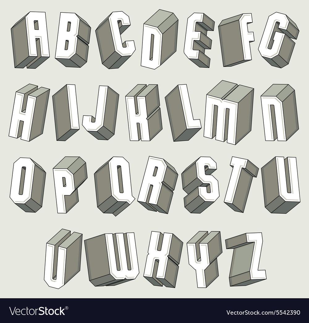 3d font geometric dimensional