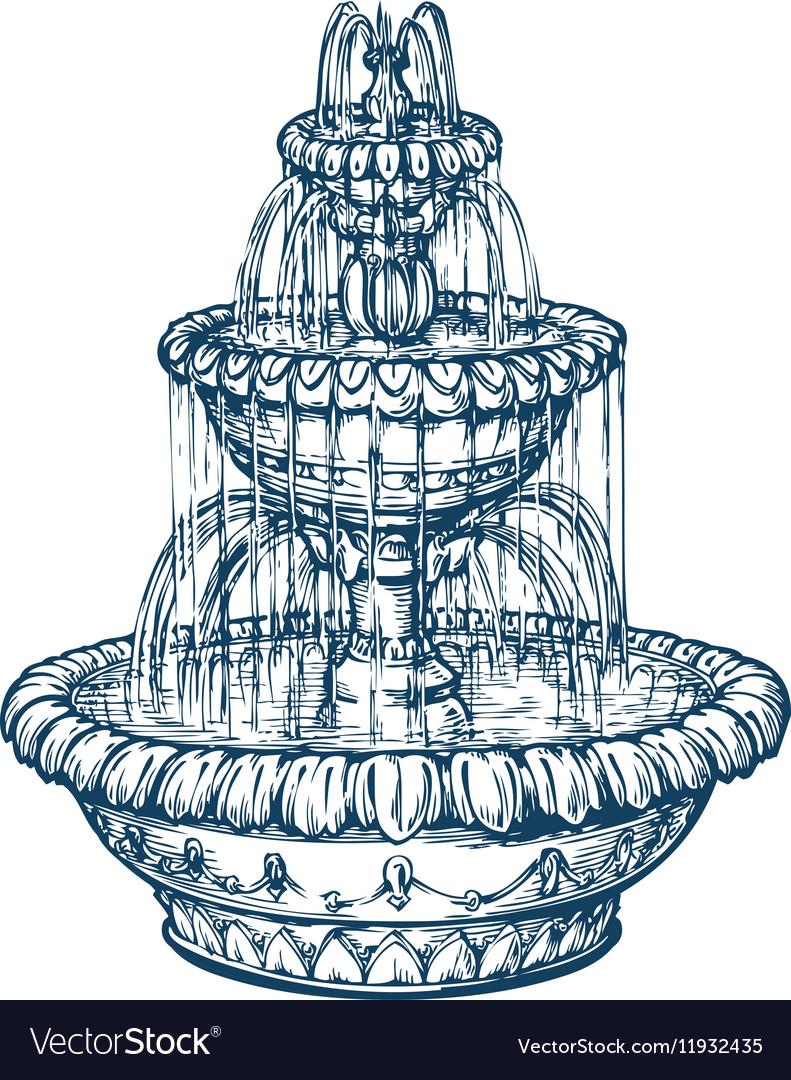 Water Fountain Drawing : water, fountain, drawing, Sketch, Water, Fountain, Drawing, Tutorial