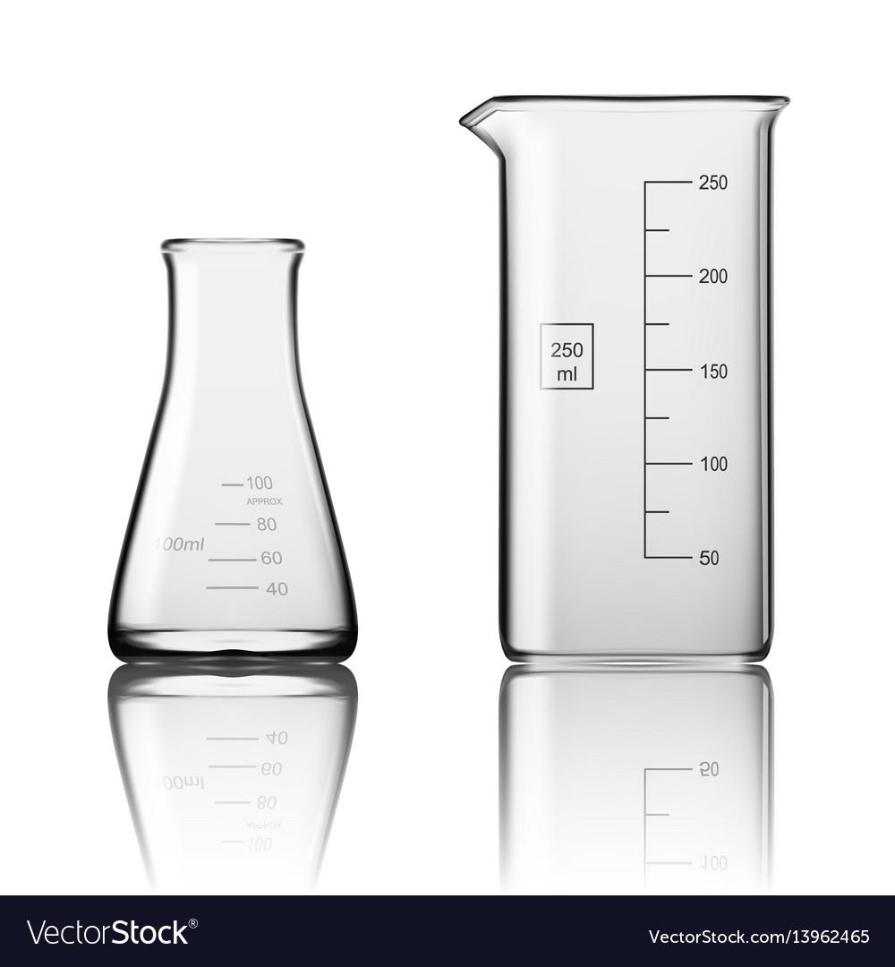 two chemical laboratory glassware