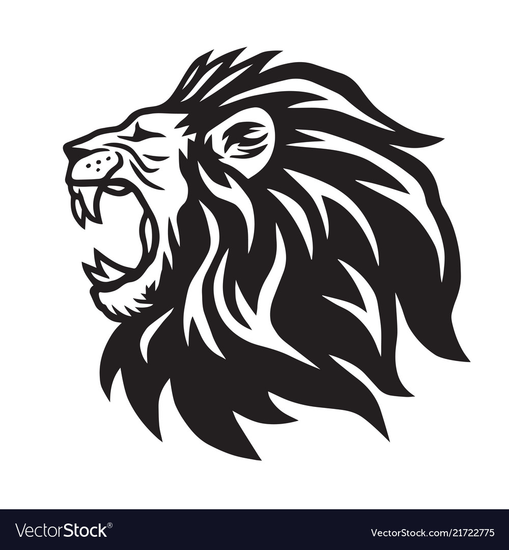 Lion Roaring Icon Logo Template Royalty Free Vector Image