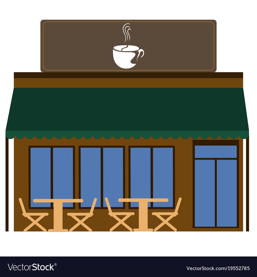 medium resolution of front view of a coffee shop vector image