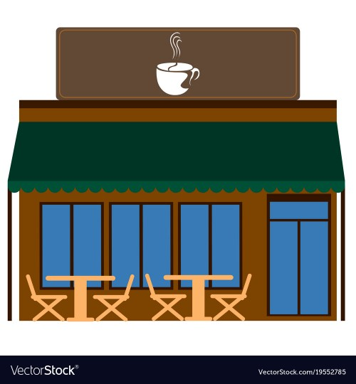 small resolution of front view of a coffee shop vector image