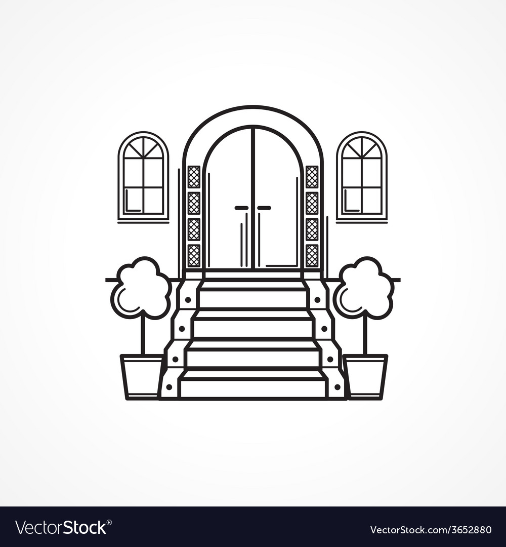 hight resolution of line icon for front door vector image