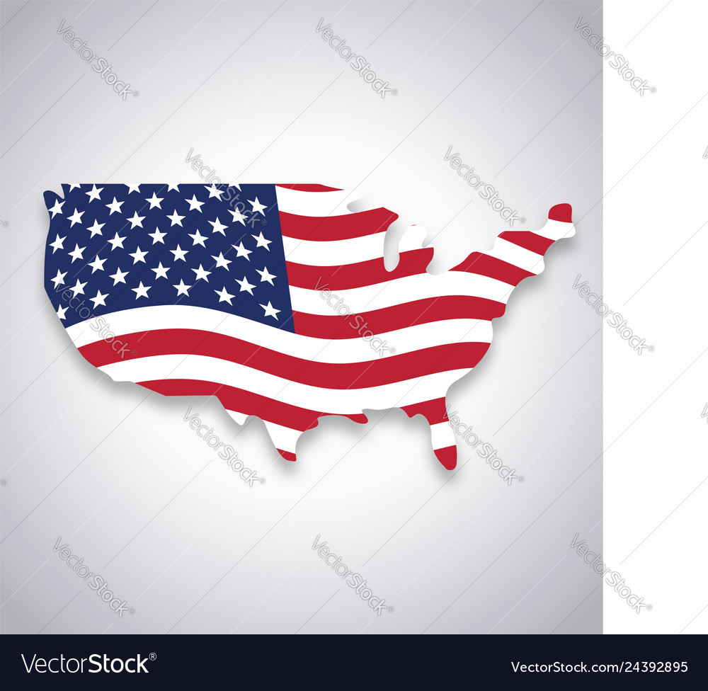 Every country has its own flag even their states too. Usa America Flag In Map Symbol Royalty Free Vector Image