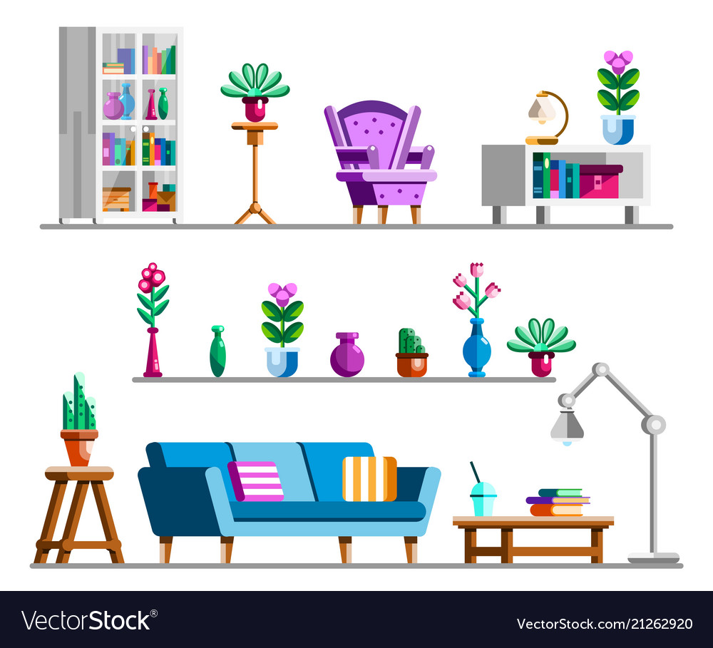 living room pictures clipart floor pillow detailed interior set vector image