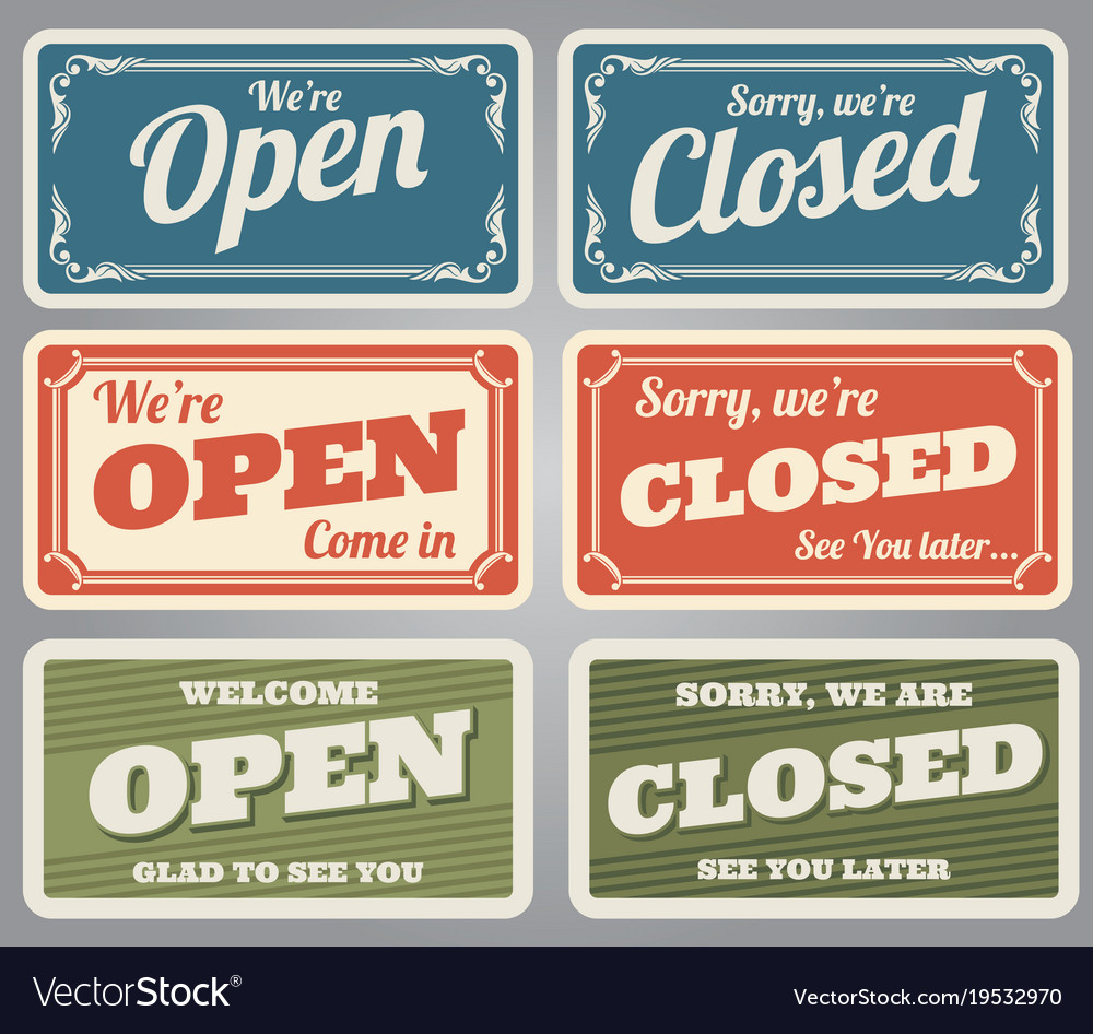 vintage open and closed