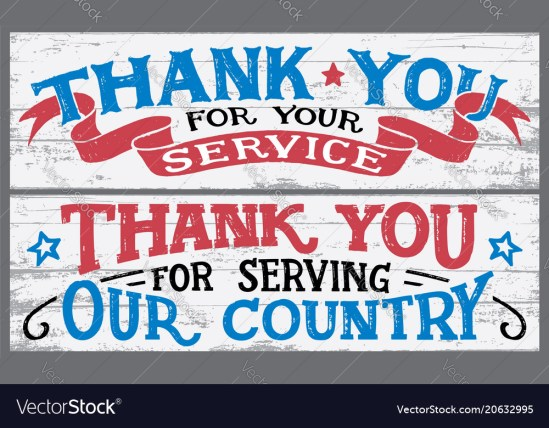Thank you for your service wood signs Royalty Free Vector