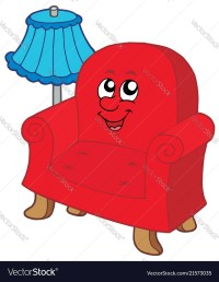 Cartoon armchair with lamp Royalty Free Vector Image