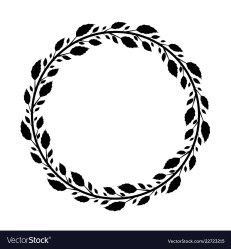 Round frame with black rose leaves Royalty Free Vector Image