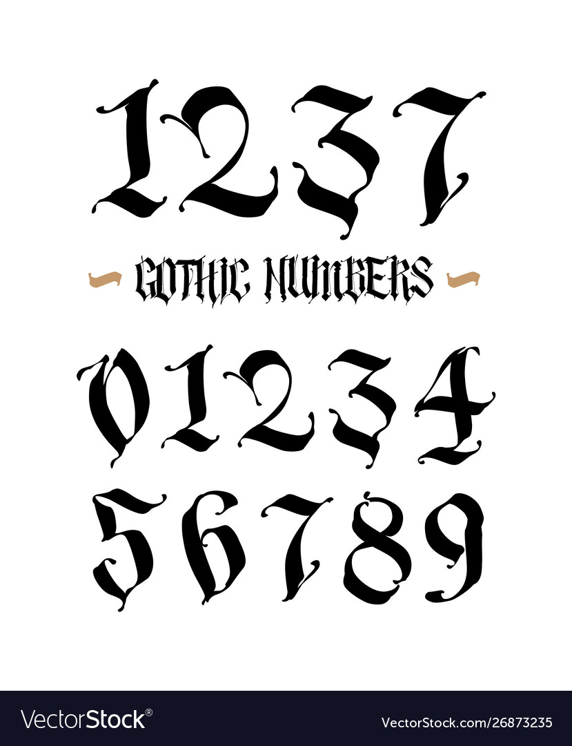 Gothic Calligraphy Numbers : gothic, calligraphy, numbers, Gothic, Numbers, Handwritten, Latin, Vector, Image