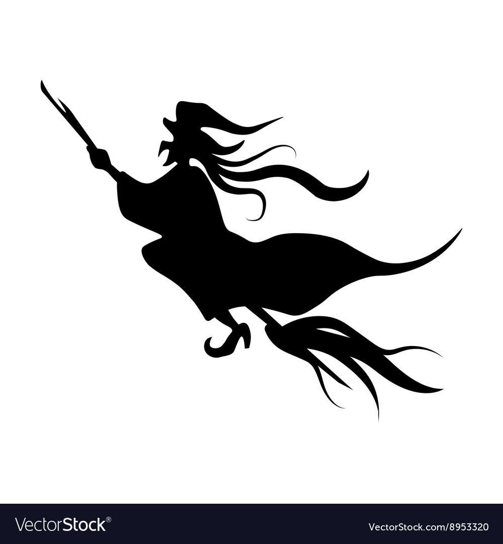 cute witch riding a