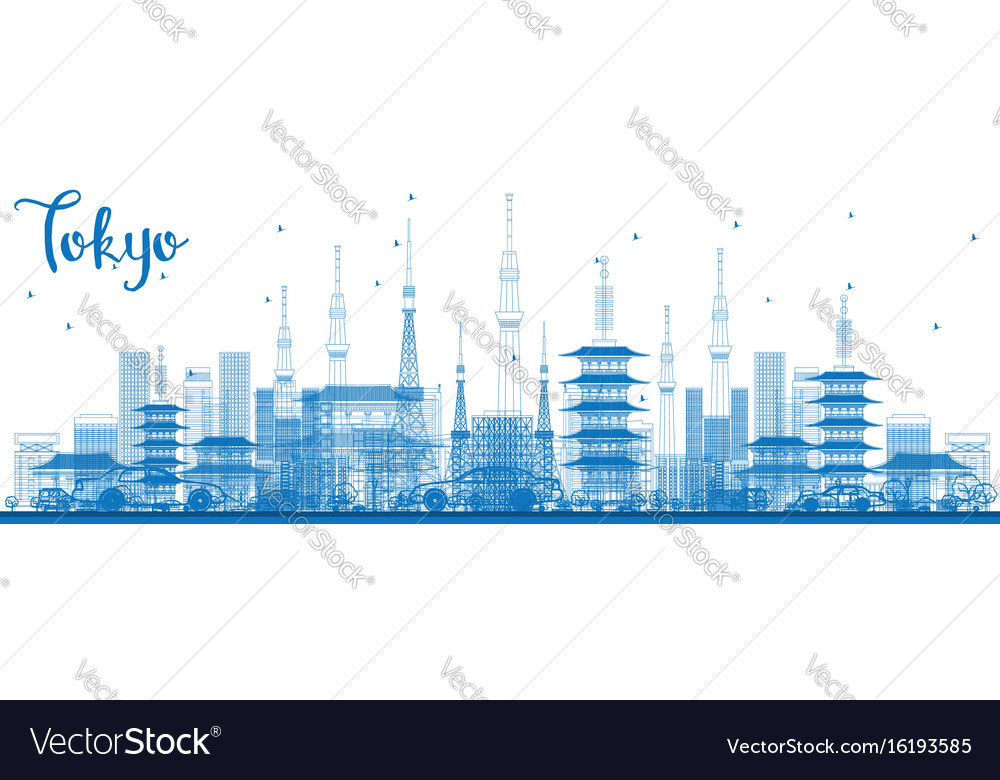 outline tokyo skyline with