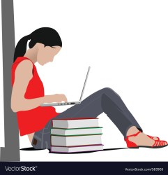 Woman studying Royalty Free Vector Image VectorStock