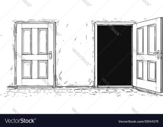 door cartoon open close two decision vector cartoons wooden vectorstock sc funny simple drawing