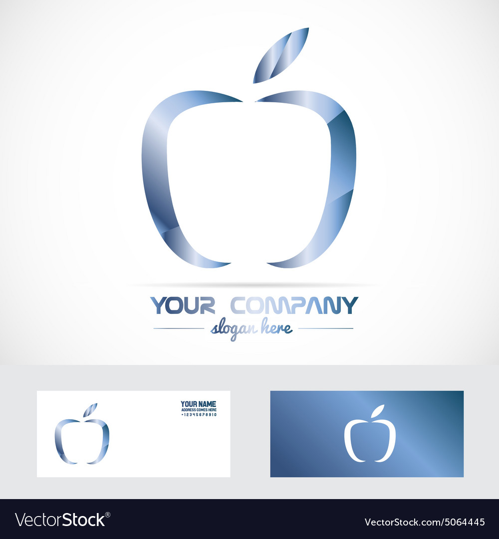 blue apple 3d metal