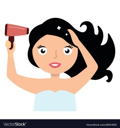 woman drying her hair with hairdryer vector image [ 1000 x 1080 Pixel ]