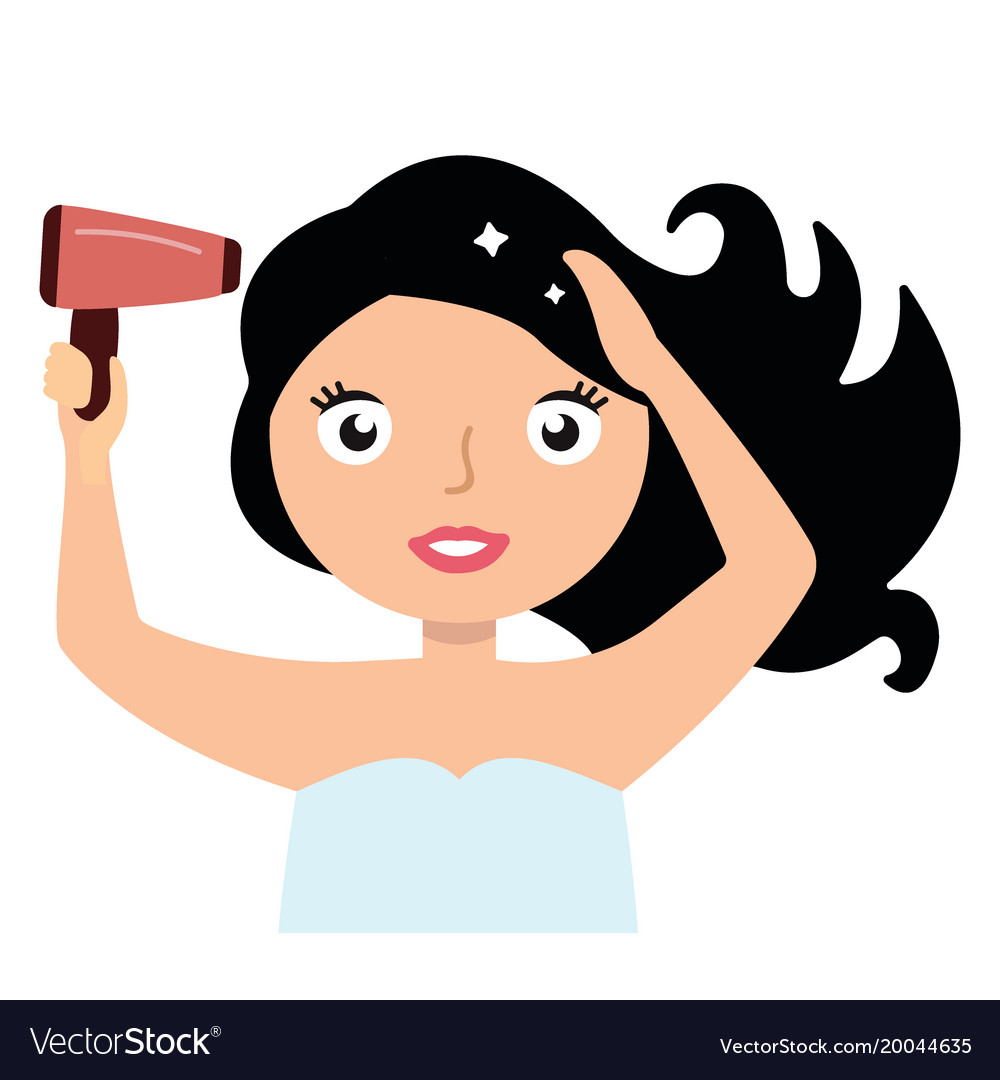 medium resolution of woman drying her hair with hairdryer vector image